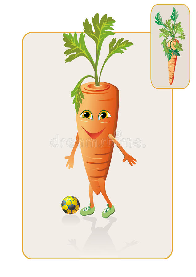 Download Funny And Realistic Carrot Playing Football Stock Vector - Illustration of line, ball: 22441085
