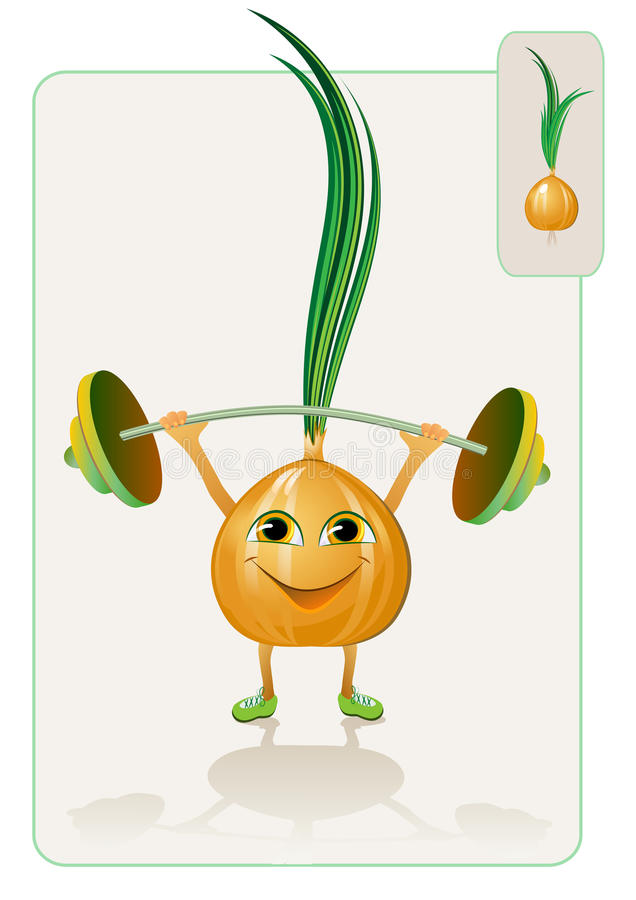 Funny and realistic onion raising the bar royalty free illustration