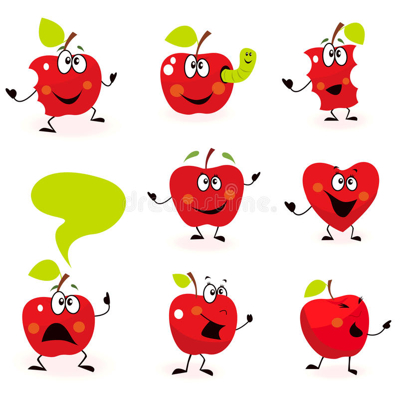 Funny Red Apple Fruit Characters Isolated On White Royalty Free Stock Images