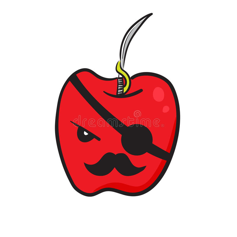 Funny red apple stock illustration