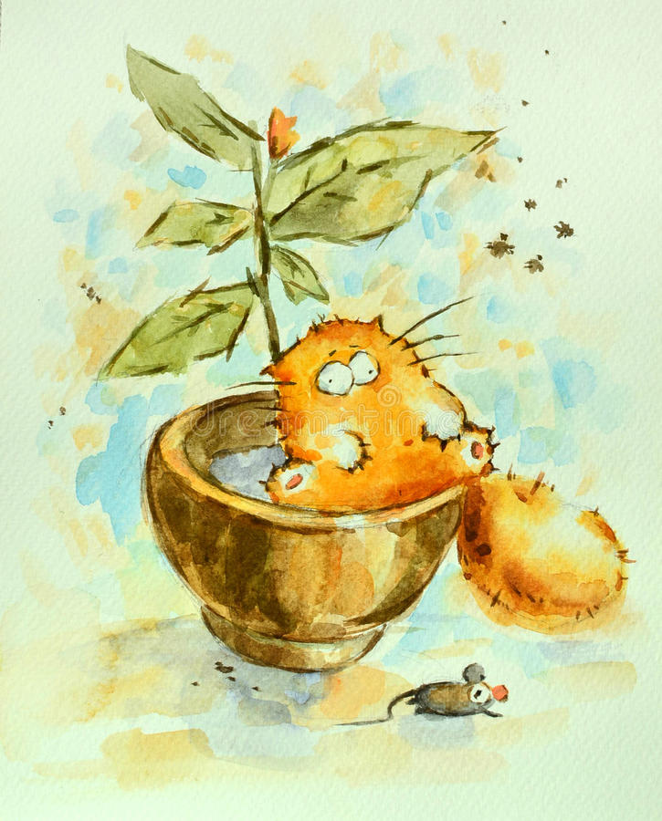 Funny red cat. Funny lazy red cat sitting in the flower pot . Watercolor painting royalty free illustration