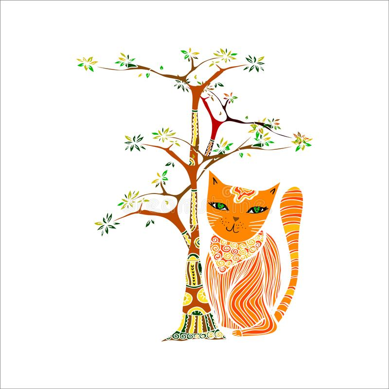 Funny red cat and tree. Illustration in ethnic style royalty free illustration