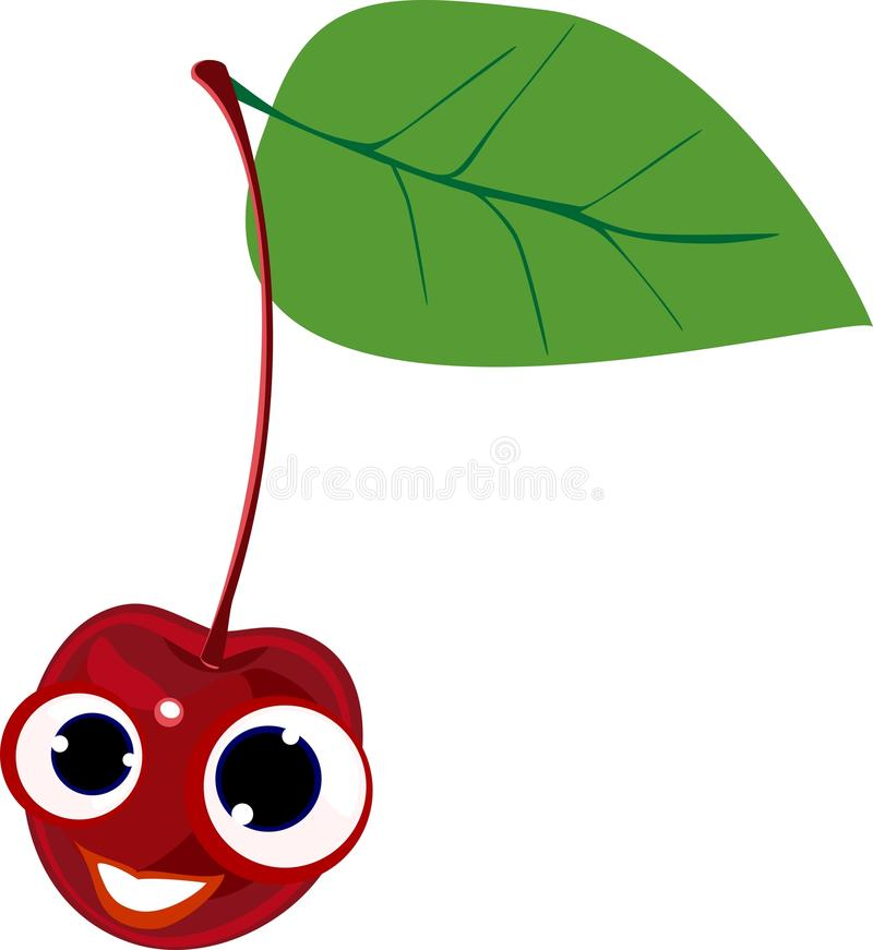 Funny red cherry. With green leaf royalty free illustration