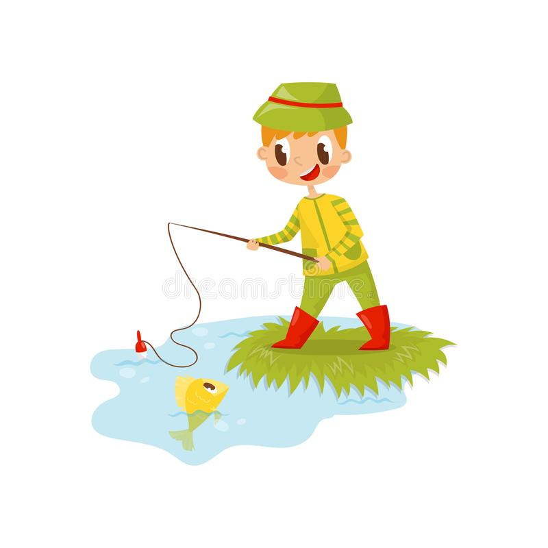 Little Boy Fishing Alone Illustration Royalty Free Cliparts, Vectors, And  Stock Illustration. Image 70917730.