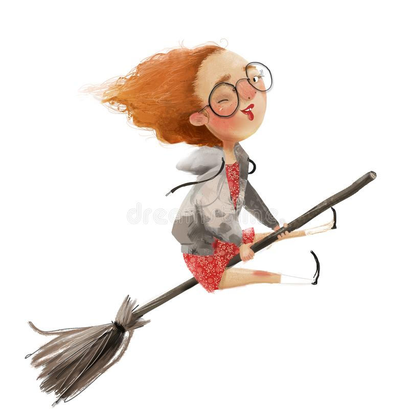 Free Funny Red Haired Girl Witch On A Broomstick Stock Photography - 153179402