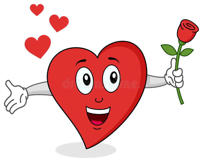 Funny Red Heart Character stock illustration