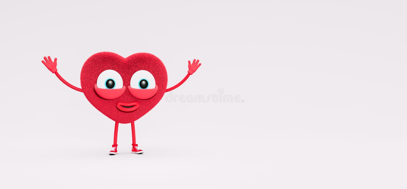 Funny Red Heart Character with open arms 3d Render stockbild