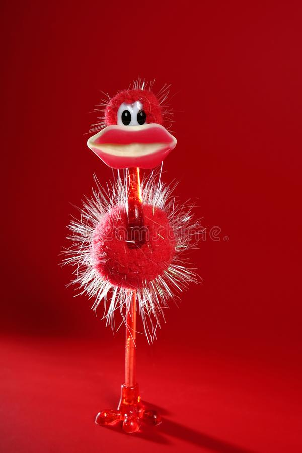 Free Funny Red Ostrich Toy With Candy Hot Lips Royalty Free Stock Photo - 10361745