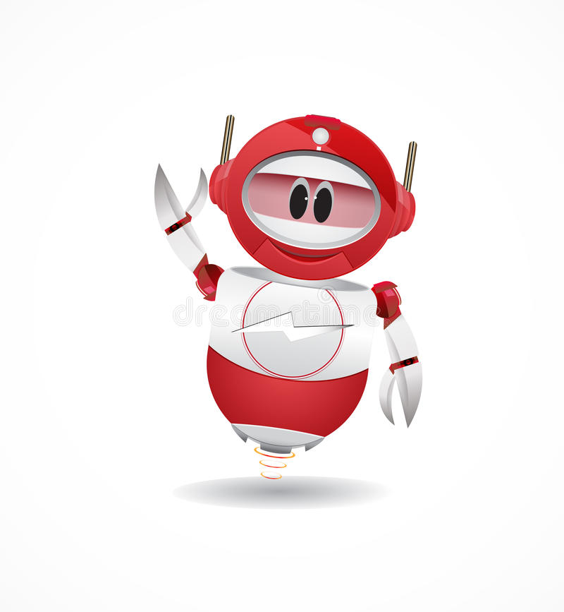 Funny red robbot royalty free illustration