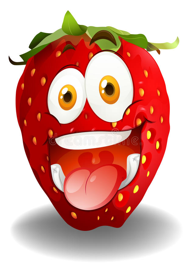 Funny red strawberry face stock illustration