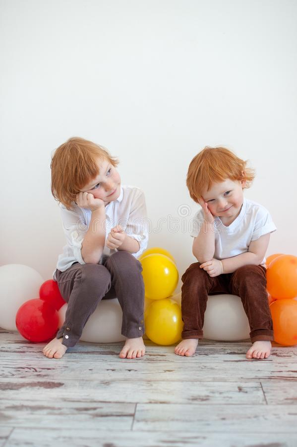 Funny redhead brother and sister royalty free stock image