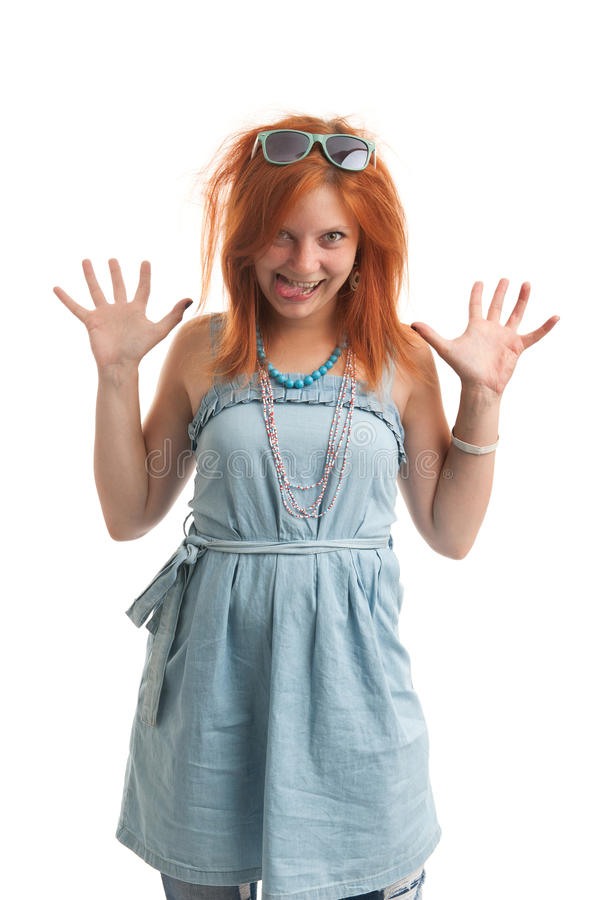 Funny redhead woman stock images