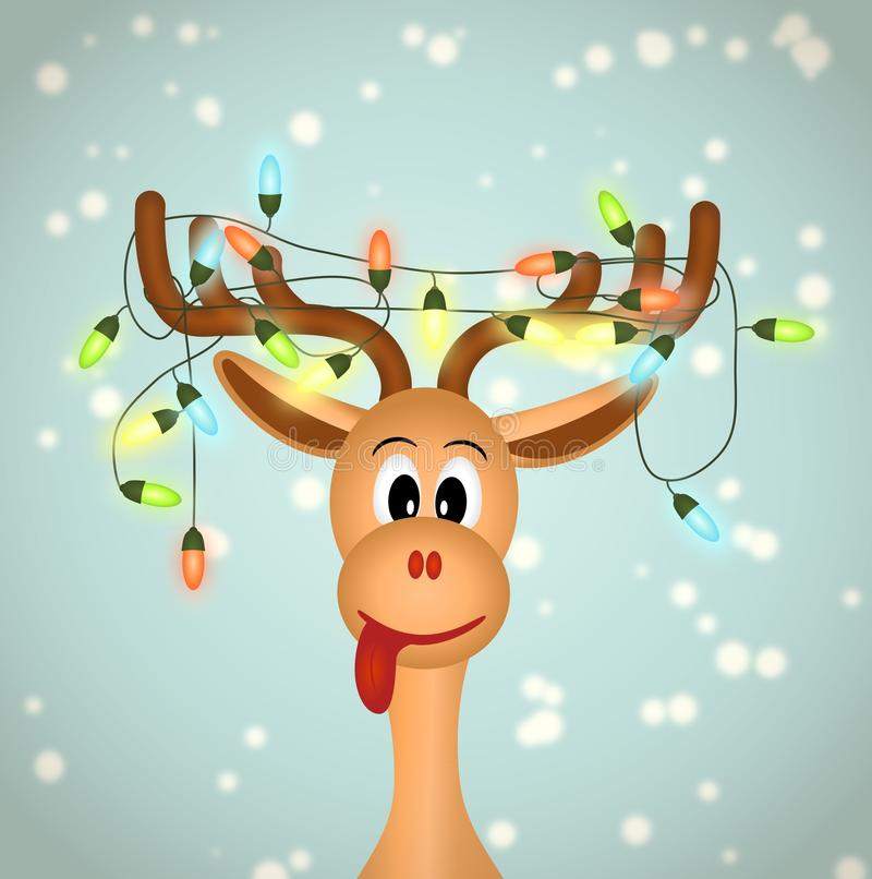 Funny reindeer with christmas lights. Tangled in antlers - illustration royalty free illustration