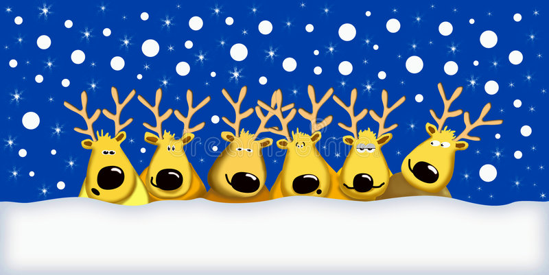 Funny reindeers vector illustration