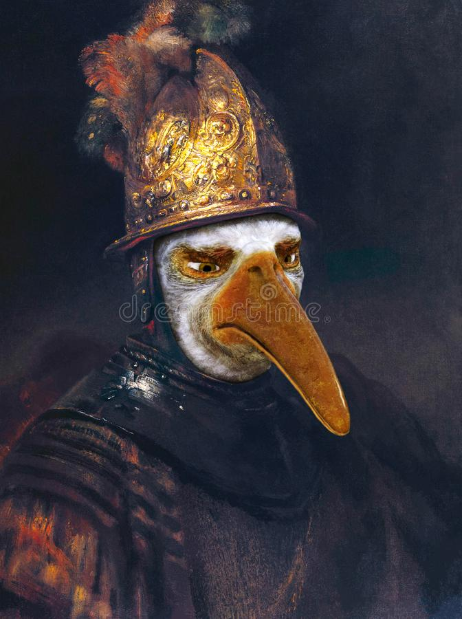 Free Funny Rembrandt Golden Helmet Oil Painting Spoof Royalty Free Stock Image - 164280086