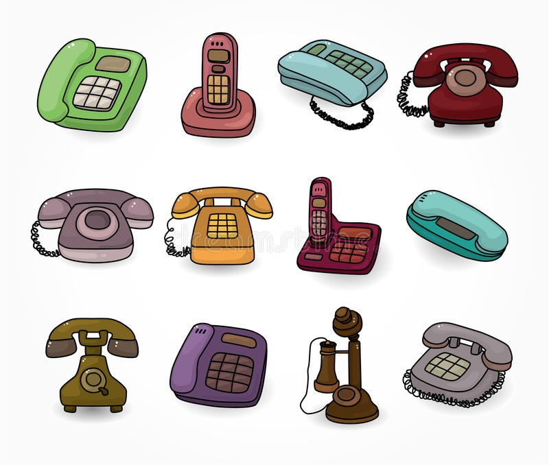 Download Funny Retro Cartoon Phone Icon Set Stock Vector - Illustration: 20322961