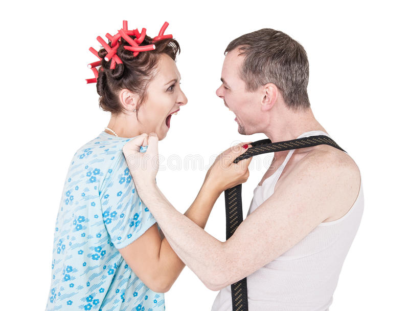 Funny retro family couple fighting and shouting at each other stock photos