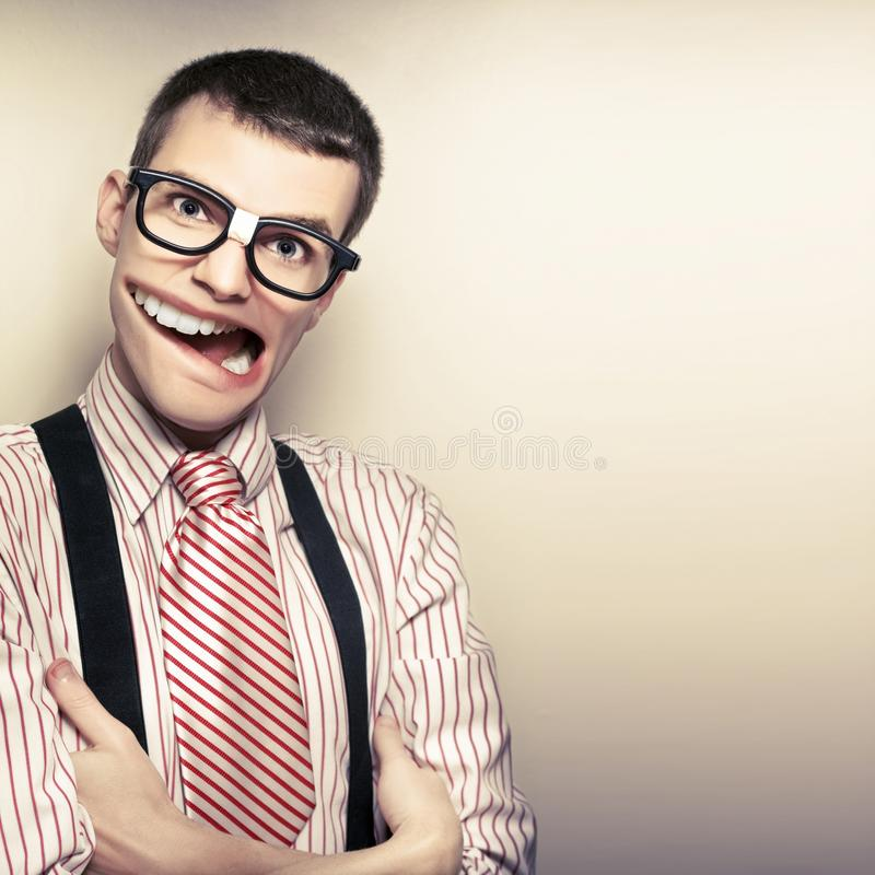 Funny Retro Male Nerd With Big Mouth On Copyspace