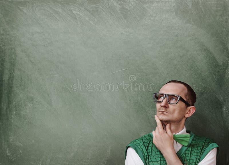 Funny retro nerd thinking stock photos