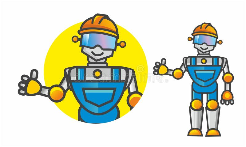 Funny Robot Builder. Funny Robot in overalls smiles and raises his finger up royalty free illustration