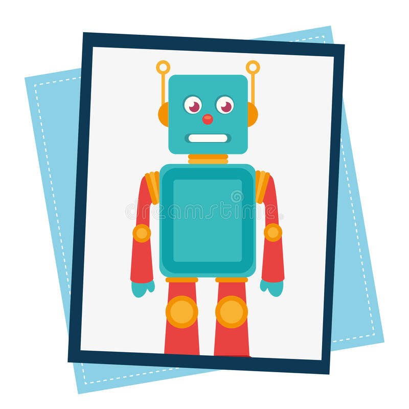 Funny robot cartoon vector illustration