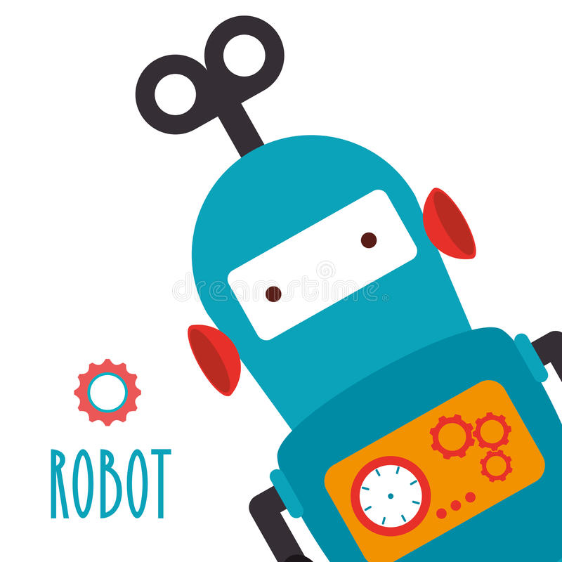 Funny robot cartoon royalty free illustration