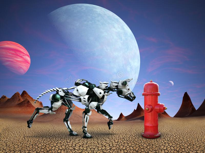 Funny Robot Dog, Fire Hydrant, Alien Planet. A funny robot dog sniffs around a fire hydrant on an alien planet with a desolate desert. The animal pet is curious stock illustration
