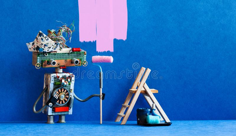 Funny robot painter decorator with pink paint roller and wooden ladder. Redecoration blue room interior. Copy space royalty free stock images