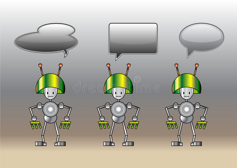 Funny robots decorated with comics bubbles royalty free illustration