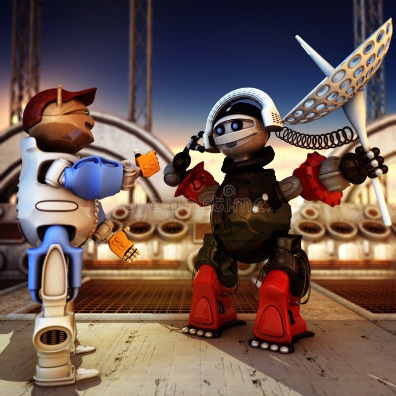 Funny Robots Having Conversation royalty free illustration