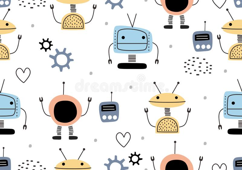 Funny robots seamless pattern with scandinavian drawing style. Robot hand drawn colorful cyborg character. Vector illustration for stock illustration