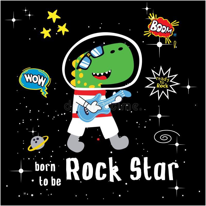 Funny Rocker Dinosaurs cartoon vector illustration stock illustration