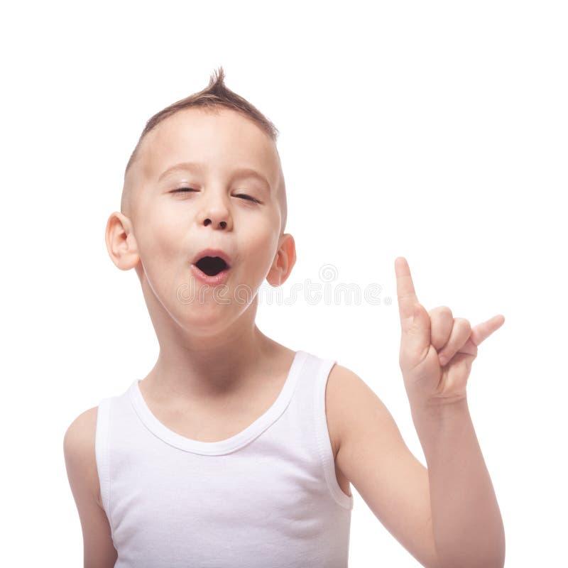 Funny rocking kid stock photo