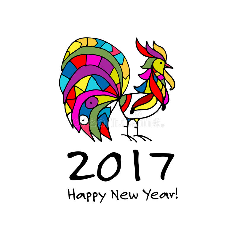 Funny Rooster, symbol of 2017 new year vector illustration