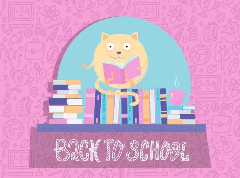 Funny round Cat Character reading book on book shelf. Back to school banner. Cartoon icharacter solated on pink background with. School supplies pattern royalty free stock photos