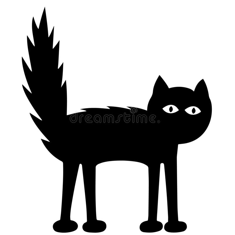 Funny Sad Black Cat. Black figure over a white and transparent background. EPS Vector Illustration. stock photos