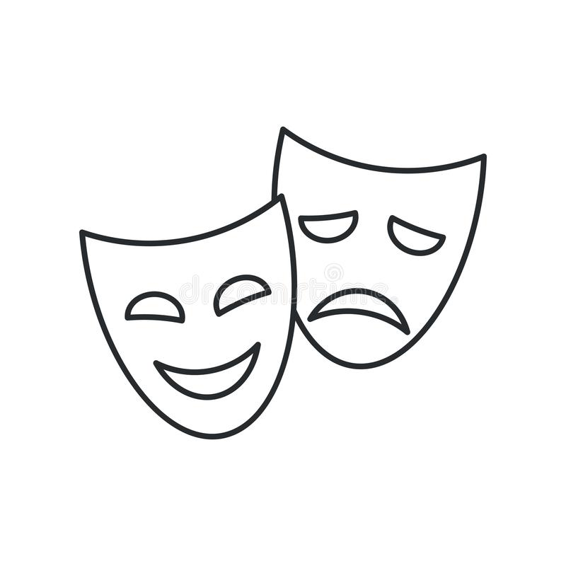 Theater masks, vector linear icon on white background. vector illustration