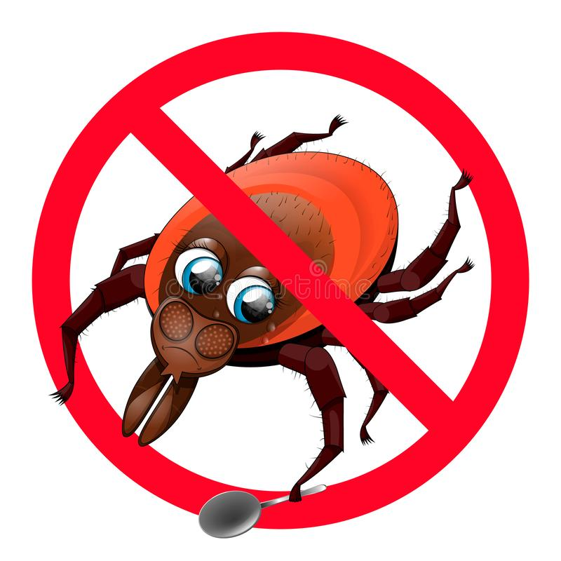 Funny sad tick on the prohibitory sign. stock illustration