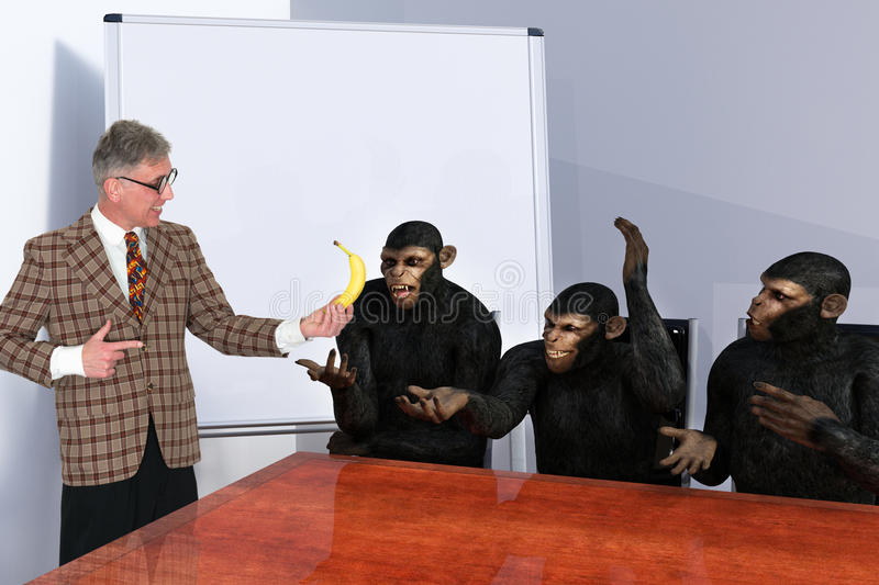 Funny Salesman, Sales, Marketing, Business. A funny salesman presentation meeting. Sales and Marketing at its best with a businessman selling a banana to a team royalty free stock photography