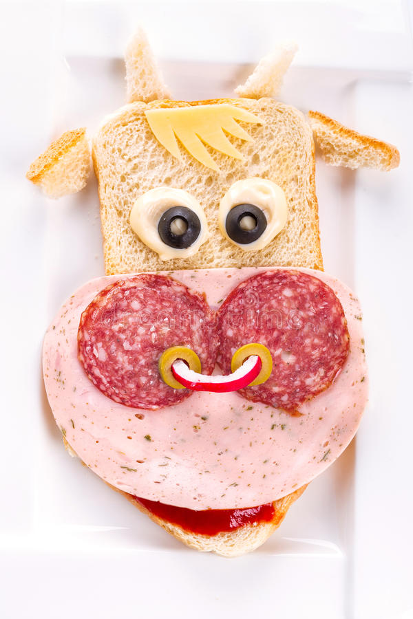 Download Funny Sandwich In The Cow Shape Stock Photo - Image: 29982836