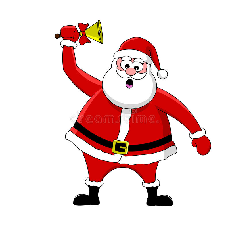 Funny santa and bell stock vector image of celebration