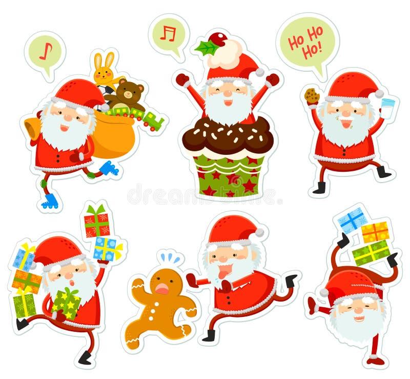 Funny Santa cartoons royalty free illustration