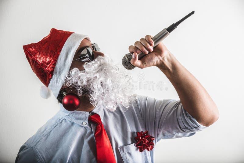 Funny santa claus babbo natale singing royalty free stock image