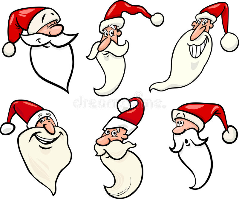 Download Funny Santa Claus Cartoon Faces Icons Set Royalty Free Stock Photography - Image: 27923547