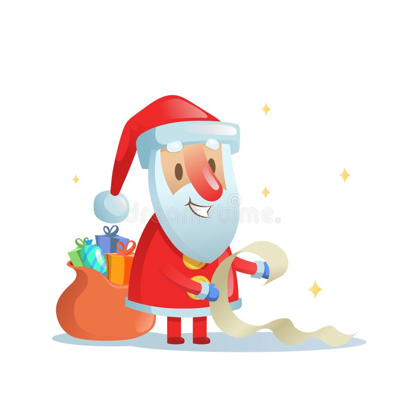 Funny Santa Claus checking his list. Cartoon Christmas card. Flat vector illustration. Isolated on white background. stock illustration