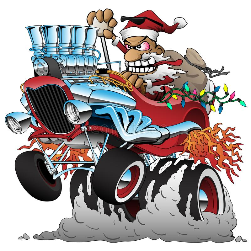 Hot Rod Santa Christmas Cartoon Car Vector Illustration. Funny Santa Claus, driving a classic old hotrod car, popping a wheelie, huge chrome engine, flames from royalty free illustration