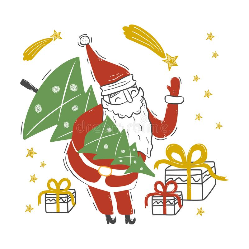 Funny Santa Claus holds Christmas tree in his hand royalty free stock photography