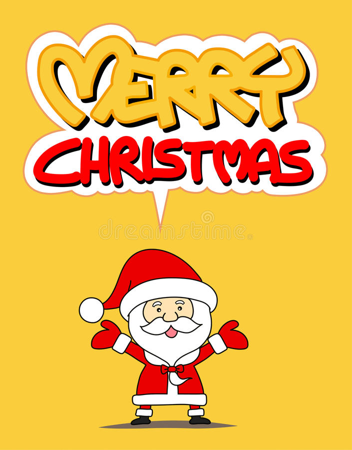 Funny Santa claus and Merry Christmas word stock illustration