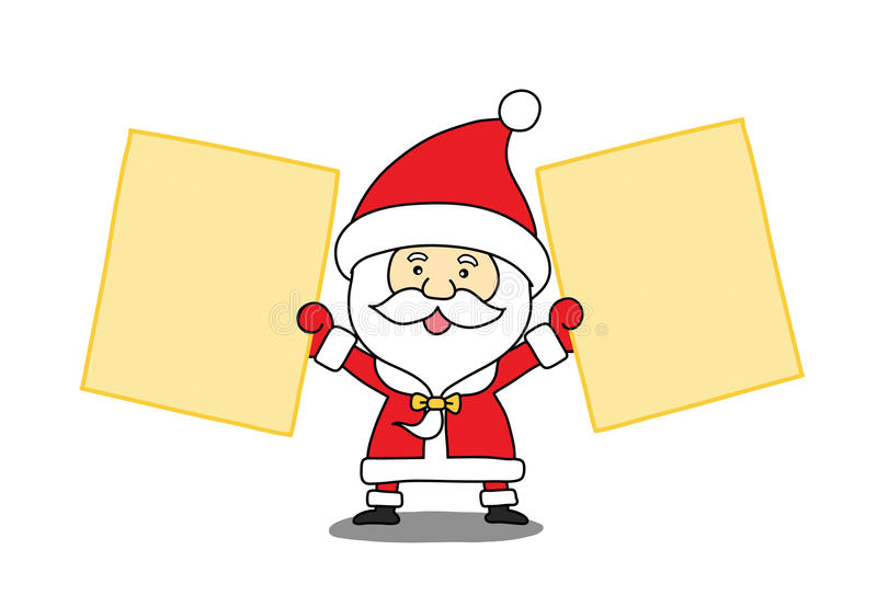Funny Santa claus with a sheet of paper stock illustration