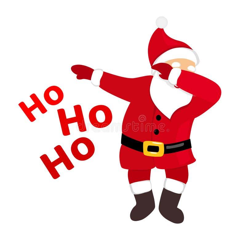 Funny Santa dabbing, quirky cartoon comic character, typography ho ho ho text. royalty free stock images